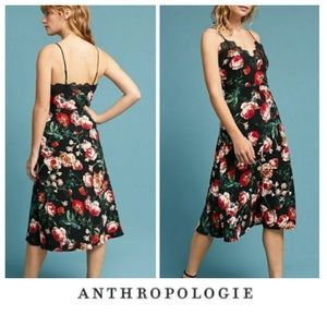 Anthropologie Foxiedox Black Floral Slip Dress